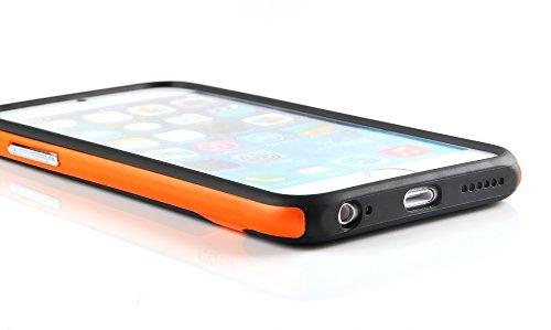iProtect Schutzhülle Apple iPhone 6 (4,7'') biegsames Soft Case gummiert schwarz und orange Soft Case Gummiert Schwarz + Orange