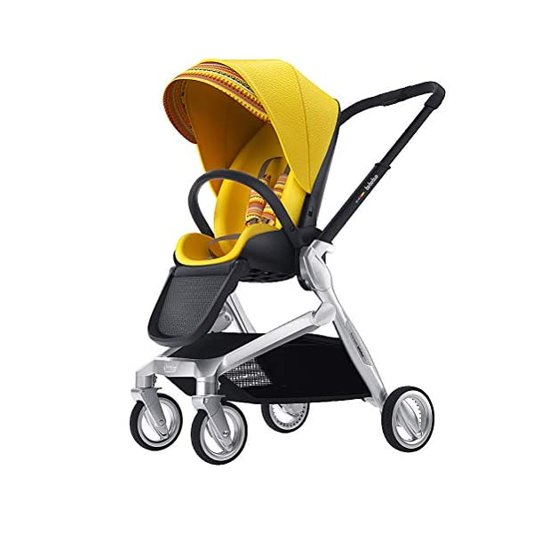 Lightweight Baby Stroller, Pivot Modular Travel System, Sleek & Versatile, Easy Infant Car Seat Transfer, Oversized Storage Basket, Travel Stroller for Infant Newborn Sit and Sleep Stroller,Yellow CCFCF ❤ [ STYLISH AND HIGH-END Baby Stroller ] : PU Leather Seat,Aluminum Alloy Frame,PU Rubber Wheel, Completely designed with Somatology Safety standard, 100% PU leather material. This perfect match feel more luxurious and fashionable and easy to clean. ❤ [ AVIATION-GRADE STABLE FRAME ] : The stroller frame is made of aviation-grade aluminum alloy. This stroller equipped with shock absorbers and offers high solidity and stability. First-class Lycra comfort fabric, A good city select foldable stroller. ❤ [ HIGHLY MANEUVERABLE CONVENIENT ] :Compact and lightweight foldable stroller system Bring friendly travel. Reversible Stroller can rear facing and front facing. Flexible front wheels with 360 degree rotation make it easy for you to control the whole stroller. 1