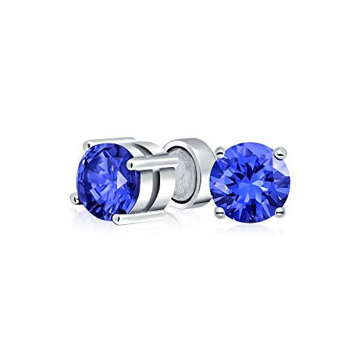 1.25 Ct-Runde Blue CZ Simulierten Sapphire Magnetische Solitär Ohrclips Ohrstecker Für Nicht Durchbohrt Sterling Silber