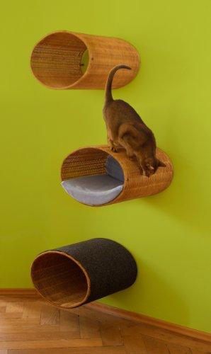 Designer Katzenhöhle, Katzen Kratzmöbel zur Wand-Montage RONDO Wall Korb, Kissen karamell pet-interiors -