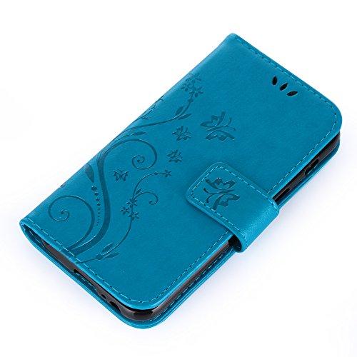 UKDANDANWEI iPhone 6 Plus / 6s Plus Hülle ,Muster Flip Wallet Case,Lanyard Strap Leather Stand Handyhülle Portable Lederhülle Anti-Scratch [ID Card Slot] Magnetverschluss Soft Silikon Cover TascheFoli Azurblau