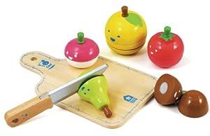 House of Toys 460166 - Pack de 5 Frutas y Verduras de Juguete con Tabla para Cortar