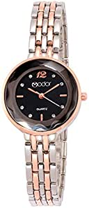 Modor Bling It on Analogue Rose Gold Silver Black Studded Chain Women's Watch