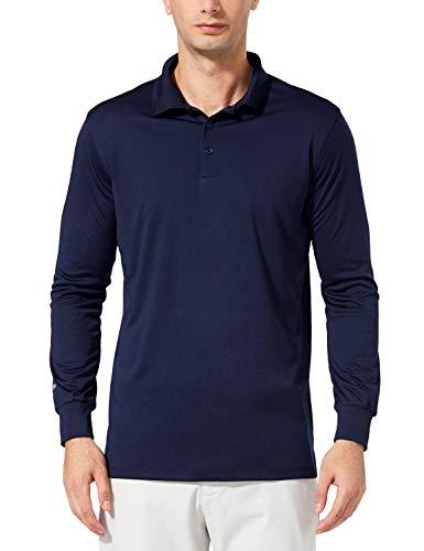 Baleaf Herren Performance Golf Poloshirt Polohemd Langarm UPF 30+ Navy Größe L -