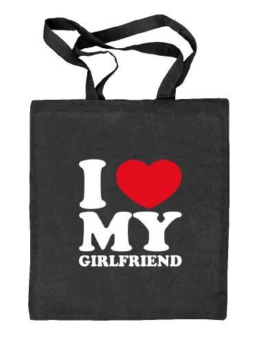 Shirtstreet24, I LOVE MY GIRLFRIEND, Valentinstag Valentine's Day Stoffbeutel Jute Tasche (ONE SIZE) schwarz natur