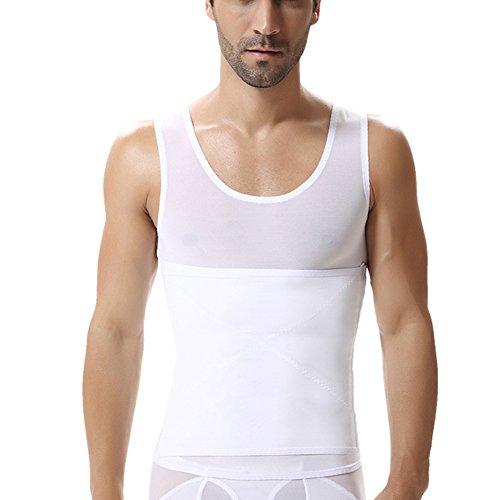 Guocu uomo canotta contenitiva snellente modellante fascia piatta dimagrante bianca l