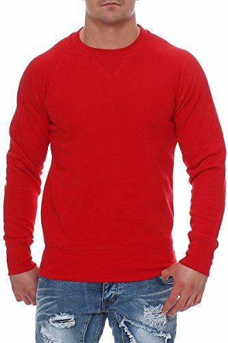 Herren Pullover Sweatshirt Langarm Pulli ohne Kapuze S M L XL 2XL 3XL, Größe:L, Farbe:Rot