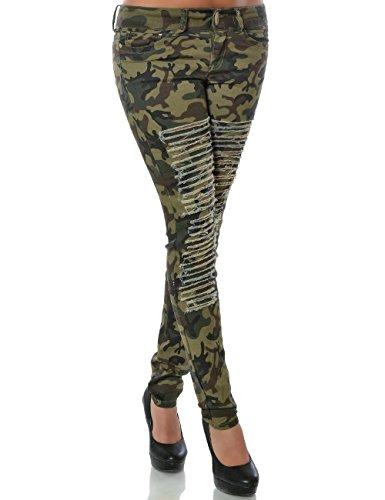 Damen Camouflage Hose Skinny (Röhre) No 15523, Farbe:Mehrfarbig;Größe:40 / L