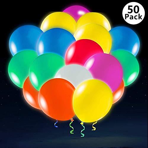 Gamtec 50 Pack LED Balloons Light Up Party Globos Resplandor en la Oscuridad Globos de látex Fiesta a Granel Decoración para Navidad, Celebración, Cumpleaños, Boda Dura 12-24 Horas(45 + 5Gift PCS)