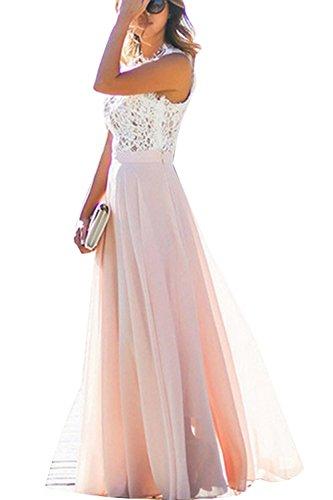 Damen Kleid festliche A Line Swing Kleider Brautjungfer Hochzeit Cocktailkleid Chiffon Faltenrock Elegant Langes Abendkleid (XL)