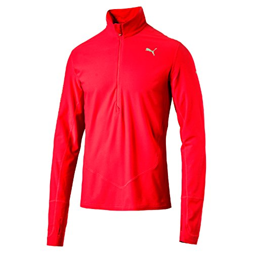 PUMA Herren Langarm Shirt Night Cat 1/2 Zip Top, Red Blast, L
