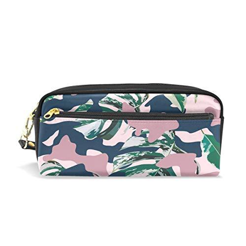 Bigjoke Camo Camouflage Leaves Federmäppchen Etui für Stifte und Stifte, PU-Leder Tasche für Make-up, Kosmetik, Reisen, Schultasche - Camo Leder Stift