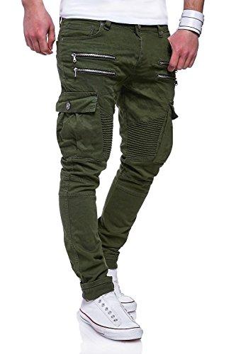 MT Styles Zipper Biker Jeans Slim Fit Hose RJ-3196 Khaki