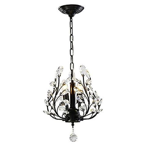 Retro Elegant Clear Crystal Chandelier 3 Lights Metal Pendant Light D33cm H75cm Dumb Black
