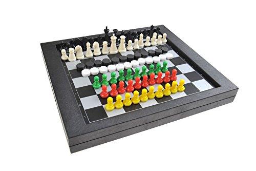 Magnetisches Brettspiel 3-in-1 (Standard Größe): Schach, Dame, Sternenhalma - magnetische Spielsteine, 23cm x 20,5cm x 2,7cm, Mod. SC6708 (DE)