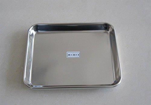 Massives Edelstahl flache Platte Beilage und Dessert, Reisröllchen Pfanne Beilage Backen , 26*20*2.5cm