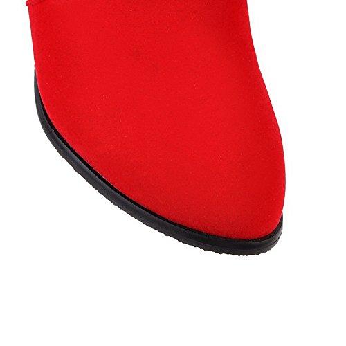 AgooLar Damen Rund Zehe Mittler Absatz Hoch-Spitze Eingelegt Stiefel mit Lesbie Rot