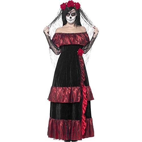 Todesbraut Kostüm Damen zum Tag der Toten Kleid mit Schleier schwarz rot - XL