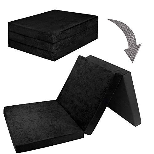 Fortisline Matelas d'appoint Pliant Lit d'appoint Lit d'invité futon Pouf 195x80x9 cm Couleur Noir