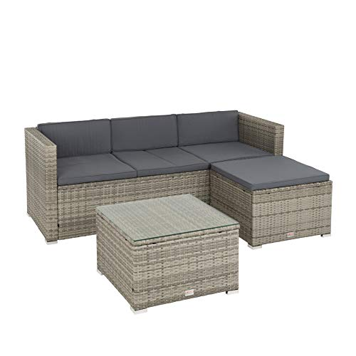 IHD Rattan Lounge 3-Sitzer Sofa mit Hocker und Lounge-Tisch mit Glasplatte, grau-meliert
