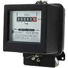 Cablematic - Contador medidor de electricidad monofásico 10A 230V 50Hz de plástico negro