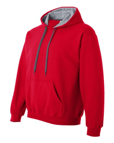 Gildan - Felpa con Cappuccio - Uomo Multicolore - rouge/gris (Red/Sport Grey)