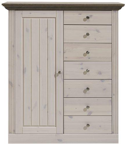 Steens Highboard Monaco Landhaus, 1 Tür, 7 Schubladen, 122 x 103 x 46 cm (H/B/T), Kiefer massiv weiß lasiert, Absetzung bernsteinfarben