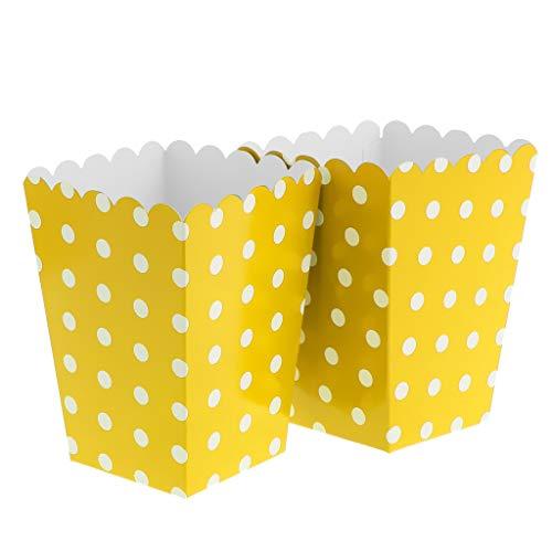 FLAMEER 12x Bunte Popcorn Tasche Box Snacktüten Süßigkeiten Schachtel Nachtisch Tüten, aus Pappe - Gelb