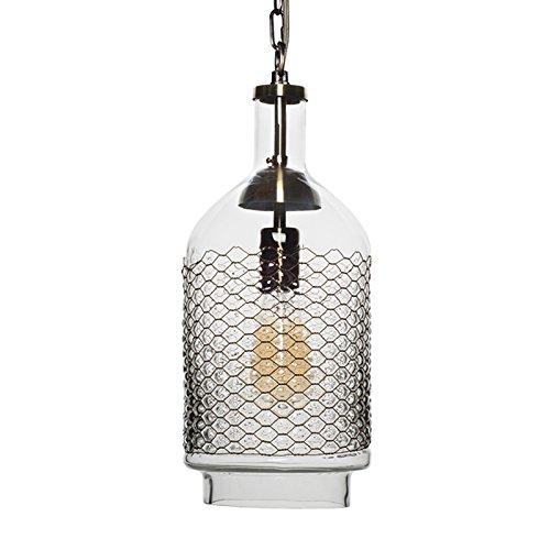 Glas Esszimmer (CASAMOTION Pendelleuchte Industrielle Vintage Hängeleuchte aus Handgeblasen Glas mit Kupfernetz Pendellampe für Küche Esszimmer,Transparent,18*40cm,E27,40W)