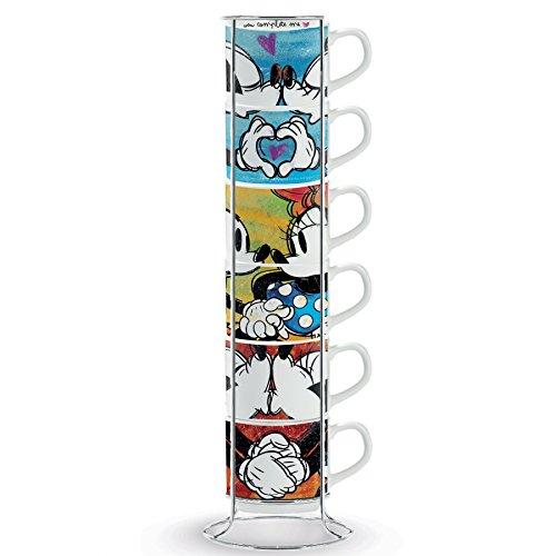 Disney Walt pwm02i/6x l Juego de Tazas de café, Modelo Sweet Love y metalrack, Porcelana, Multicolor, 7Unidad