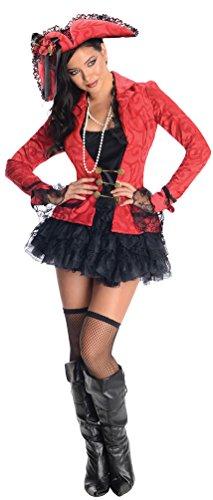 Karneval Klamotten Piratenkostüm Damen sexy Kostüm Pirat Damen Piratin schwarz rot Kostüm Karneval Damenkostüm Größe (Rubies Schwarze Kostüme Pirat)