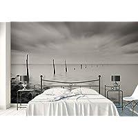 Papel Tapiz Fotomural - Mar De Leche Agua Palitos De Madera Rocas - Tema Playa y costera - XXL - 416cm x 290cm (an. x alto) - 4 Tiras - impreso en papel 130g/m2 EasyInstall - 1X-969548VEXXXXL