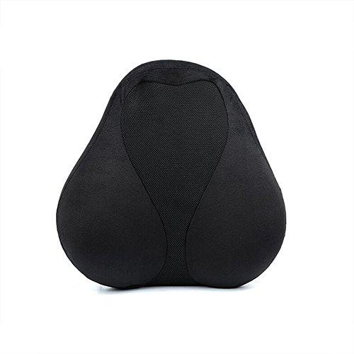 Preisvergleich Produktbild Lordosenstütze Kissen Mit Verstellbaren Trägern Memory Foam Ergonomische Rückenstütze Kissen Für Niedrigere Rückenschmerzen, Fahrersitz, Bürostuhl LAD-I,Black