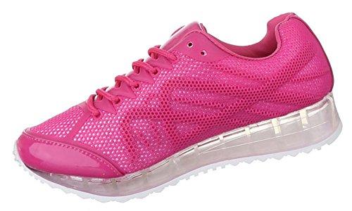Damen Sneakers Freizeitschuhe Schuhe Sportschuhe Turnschuhe Runner Schnürer schwarz blau pink weiss 36 37 38 39 40 41 Pink