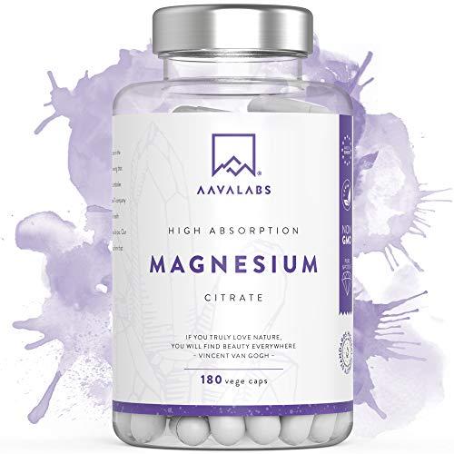 Magnesiumcitrat Kapseln [ 400 mg ] 180 Stück von Aava Labs - Neue Formel: KEIN Magnesiumstearat - 100% Vegan & NON-GMO - Reiner Nährstoff, nicht gestreckt - Für Muskel und Nerven Funktion - Hergestellt in der EU.