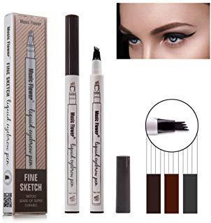 Eyebrow Tattoo Pen, Tattoo Augenbrauenstift mit Tips Wasserdichte Langlebige Verfassungs Brauenstifte Flüssige Augenbraue Bleistift für Make-up (# 01-Kastanie) -