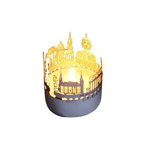 13gramm Aachen-Skyline Windlicht Schattenspiel Souvenir, 3D Edelstahl Aufsatz für Kerze inkl. Karte