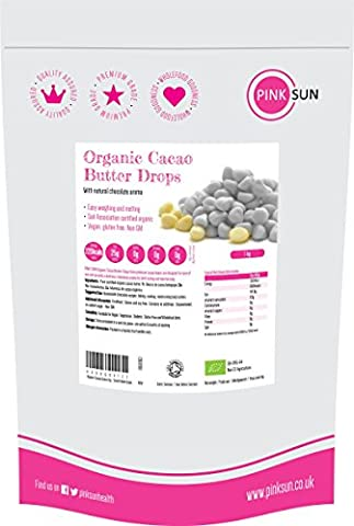 Beurre de Cacao Alimentaire Bio Biologique Gouttes 1kg - Organic Cacao Butter (also available in 500g) - Small Edible Pure Cocoa Butter Drops