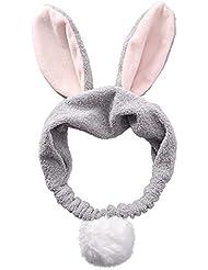 Fjiujin,Orejas de Conejo Diseño Banda de Pelo cosmética esponjosa(Color:Gris)