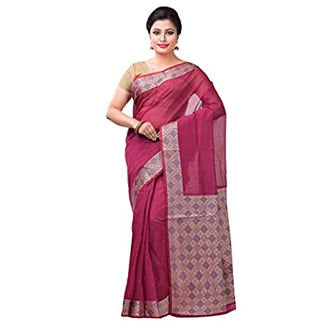 Indian Ethnic Cotton Silk Magenta Handloom Saree
