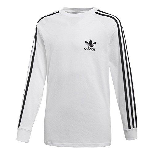 adidas Langarm T-Shirt – J Clfrn LS Weiß/Schwarz Größe: 159-164 cm Groß - 13 bis 14 Jahre (Langarm-shirt Weißes Adidas)