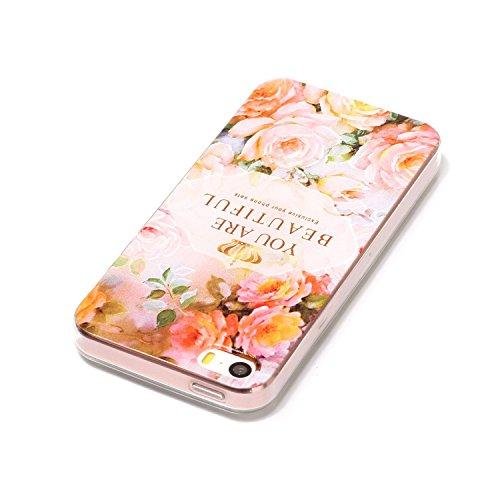 iPhone SE 5 5S Hülle, iPhone SE 5 5S Weiche flexible Silikon-Handy-Hülle ,Cozy Hut iPhone SE 5 5S Schutzhülle Case Silikon- Crystal Clear Ultra Dünn Durchsichtige Backcover Handyhülle TPU Case für iPh Rosen