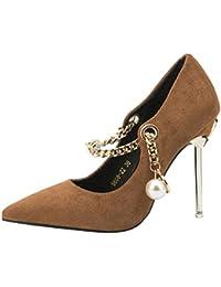 HhGold Stiletto Slip-on Zapatos de Corte de Metal con Cuentas (Color : Verde