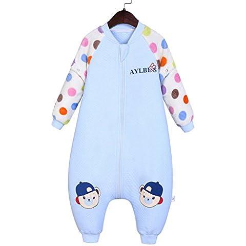 Happy Cherry Bolsa de Dormir Mono Acolchado Pijama de Mangas Largas Saco de Dormir para Bebés Niños Niñas Otoño