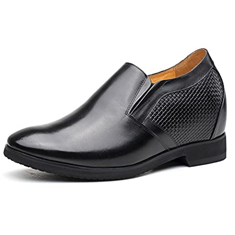 CHAMARIPA Elevator Shoes Slip On Height Increasing Loafers for Man Black-Taller 10.5cm/4.13