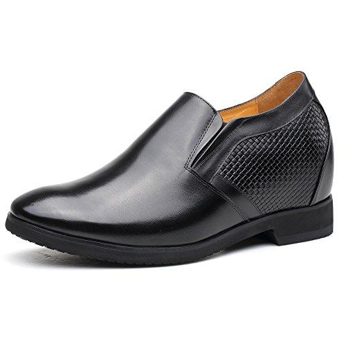 Chamaripa mocassini scarpe con rialzo eleganti derby uomodi pelle per tempo libero/affari commerciali nero fino a 10.5 cm - x71h27