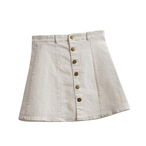 Mini Jeans Röcke LUVERSCO Damen Taille Rock Koreanischer Stil MäDchen Cowboy Mini Jeans Und Kurzen Rock (Weiß, L) (Denim-mini Vintage)