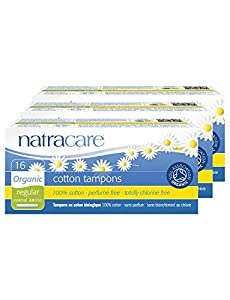 PACK of 3 Natracare Organic Cotton Applicator Tampons Regular