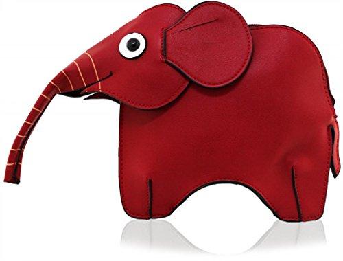 Kukubird Animal Elephant Shape Faux Leather Handbag RED