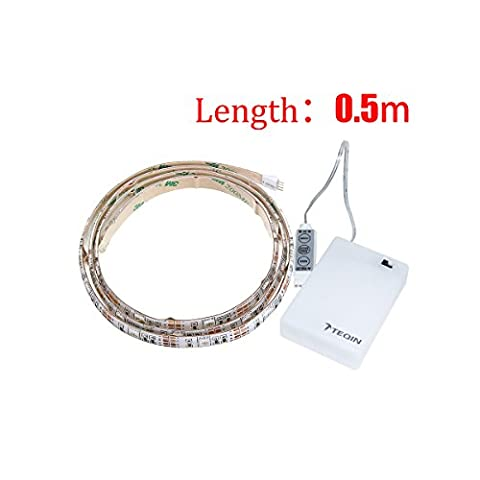 TEQIN 50CM 5050 Waterproof IP65 RGB LED Strip Lights with Battery Box Lamp 4.5V for Home Outdoor Lighting Craft Hobby Light Decoration (Battery Box is Not